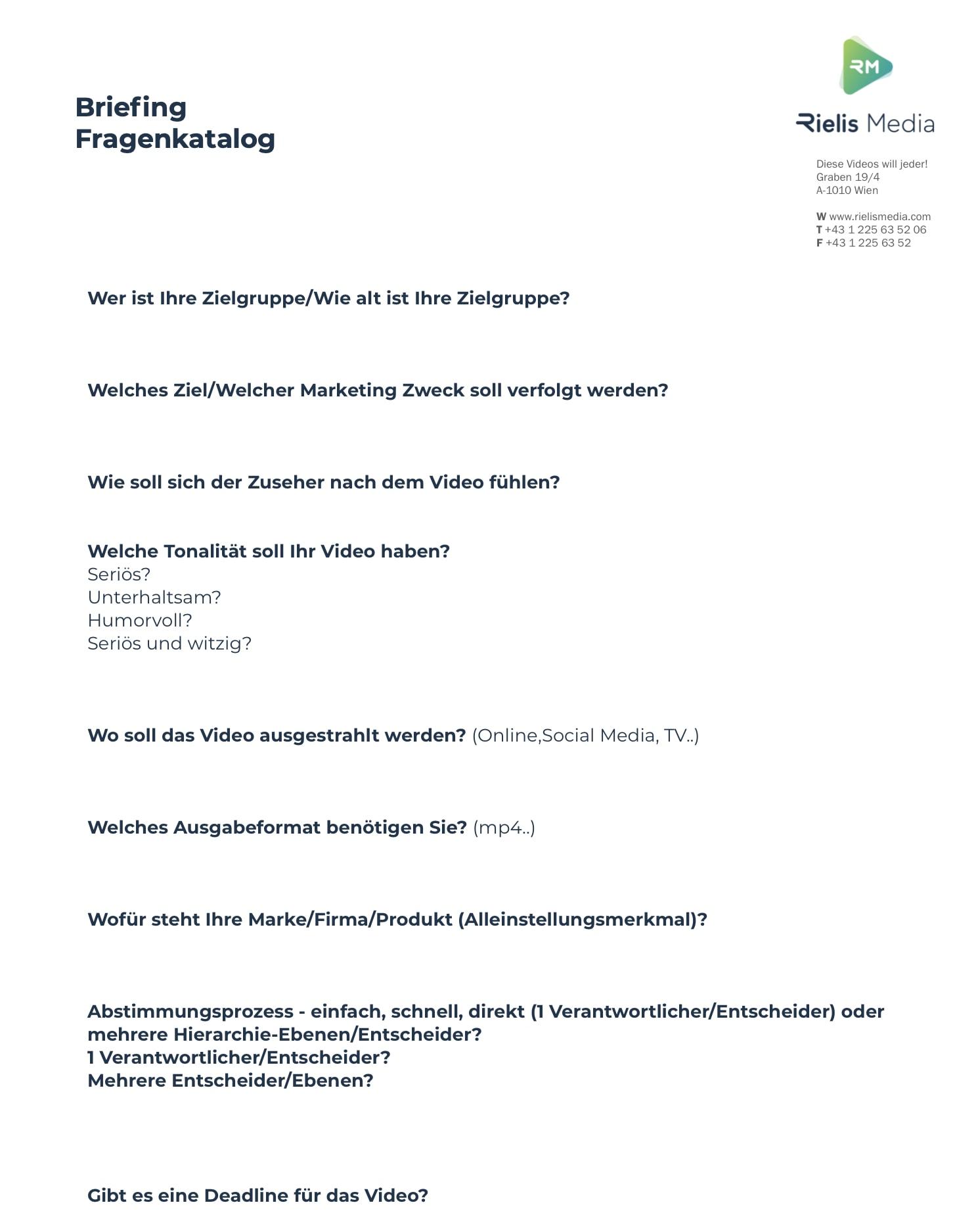 Briefing für Erklärvideo